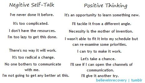 positive thinking reduce stress by eliminating negative self talk