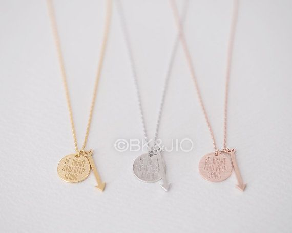 Be Brave And Keep Going Necklace Gold/ Silver/ Pink by bkandjio