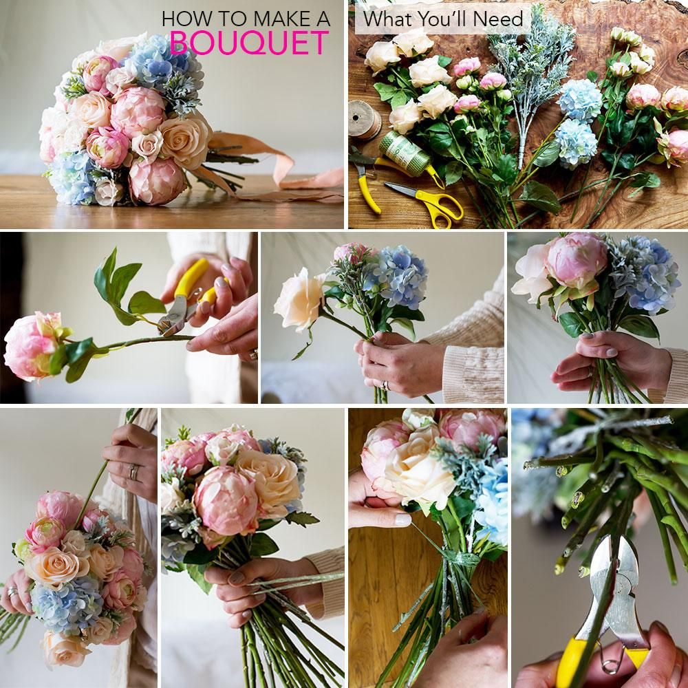 how to make a bridal bouquet using silk flowers