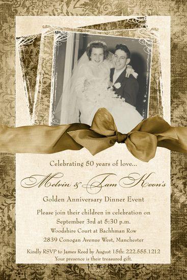 Fine gold 50th anniversary card photo wedding classic vintage fine gold 50th anniversary card photo wedding classic vintage ivory style stopboris Images