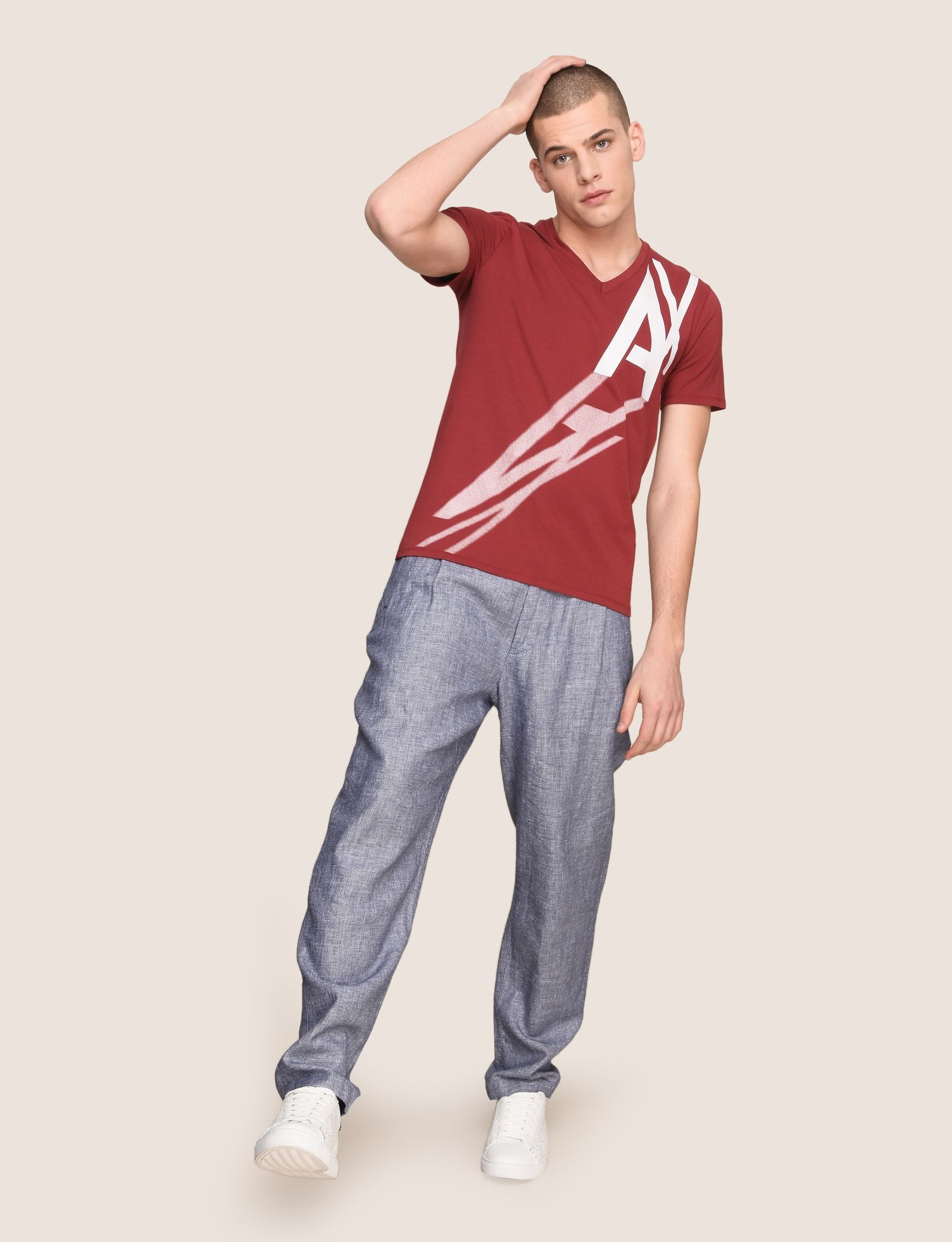Armani exchange cast a shadow v neck tee logo t shirt for