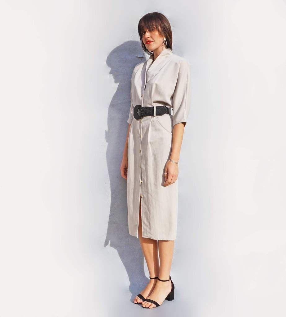 55652a111bbc4 Oversized Beige Linen Shirt Dress - Ada s Attic Vintage