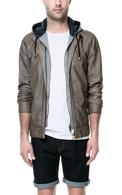 912b97e8d73 HOODED FAUX LEATHER JACKET from Zara Man