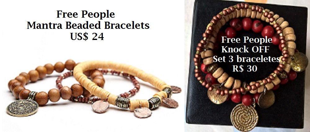 Inspirado no set de 3 braceletes Mantra Beaded Bracelets da loja Free People que custa US$24 (equivalente a R$92) <br> <br>Set com três braceletes com elasticidade, para facilmente se adaptarem ao seu pulso. Um todo em semente de Açaí vinho e charm com a oração do Pai Nosso. Um todo em madeira com detalhes em ouro velho. Um fino em tons cobre e dourado fosco metalizado.