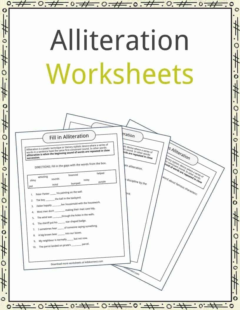 Lliteration Is A Poetic Technique Or Literary Stylistic Device Where A Series Of Words In A Sentence Have Alliteration Examples Alliteration Poetry Worksheets [ 1056 x 816 Pixel ]