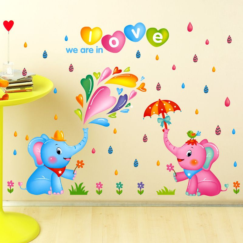 Cute Lovey Elephant Wall Sticker Flowers Rain Umbrella Mural Wall ...