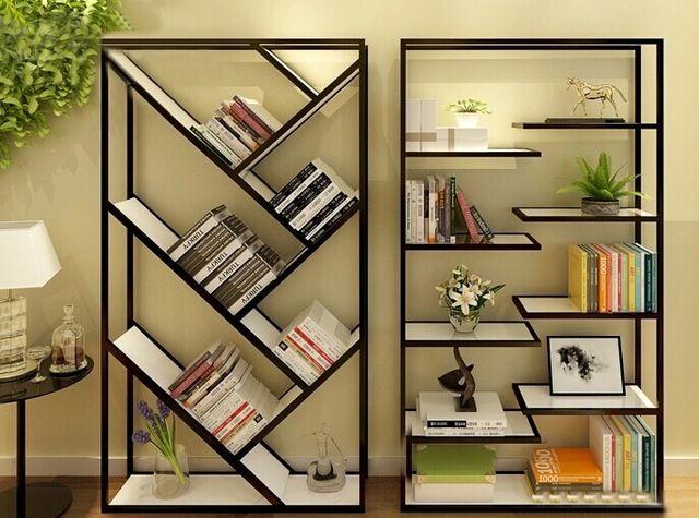 Iron Wood Bookcase Shelves Display Racks Storage Racks Container Wall Panels Showcase Jewelry Stand In Swivel Plates Furniture Bookshelves Diy Metal Bookshelf