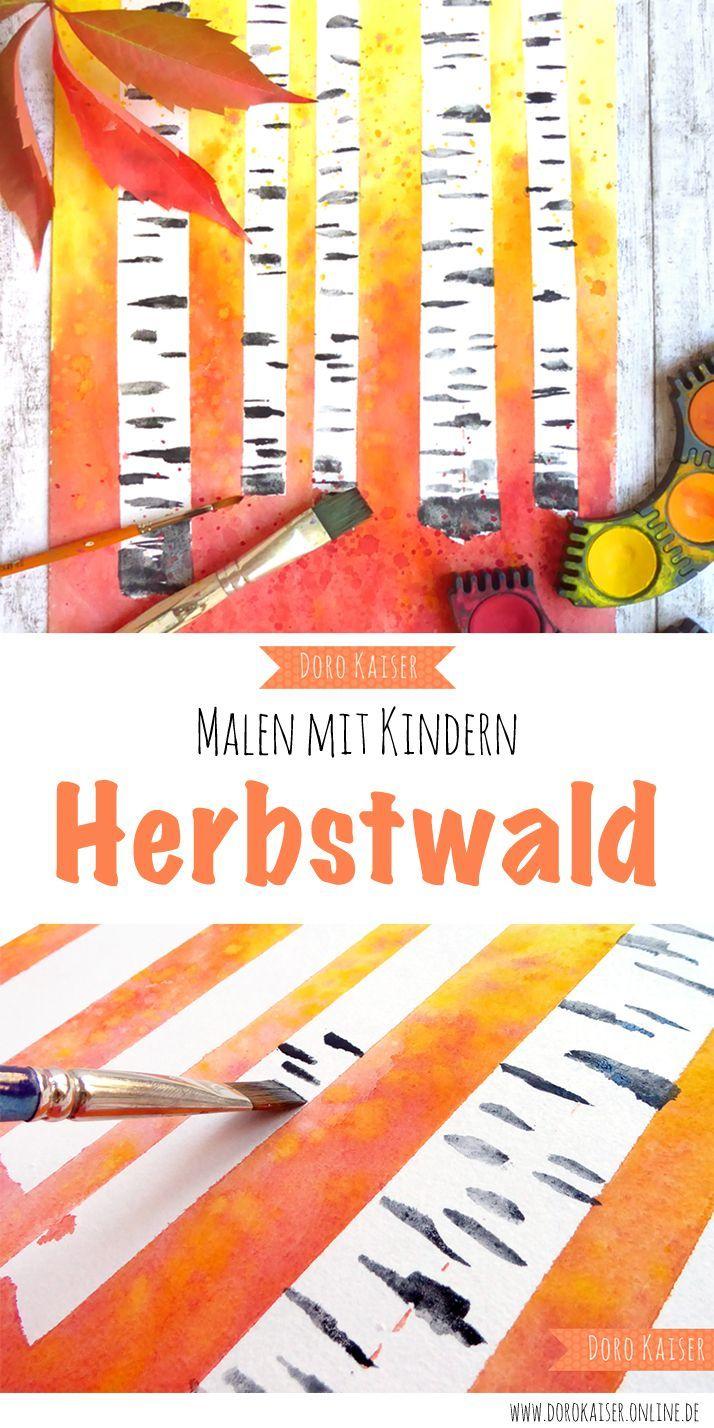 Malen mit Kindern: herbstlicher Wald mit Birken - Doro Kaiser | Grafik & Illustration Doro Kaiser | Grafik & Illustration