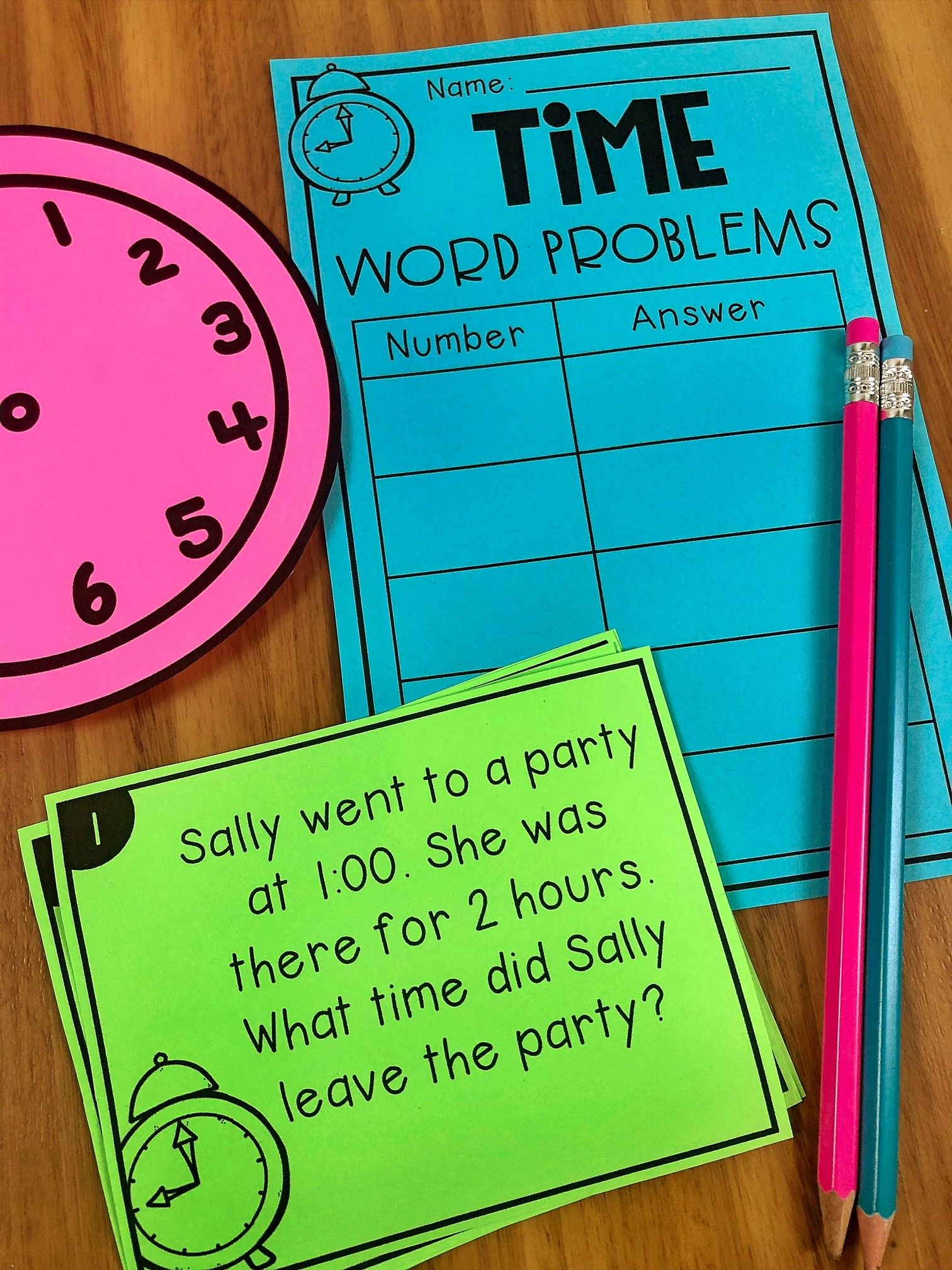Time Math Stations - Hour, Half Hour and Quarter Hour | TpT Math ...