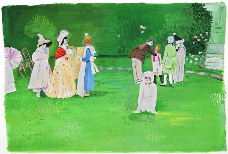 Gallery Maira Kalman S Girls Standing On Lawns Girl Standing Maira Kalman Alice In Wonderland Garden