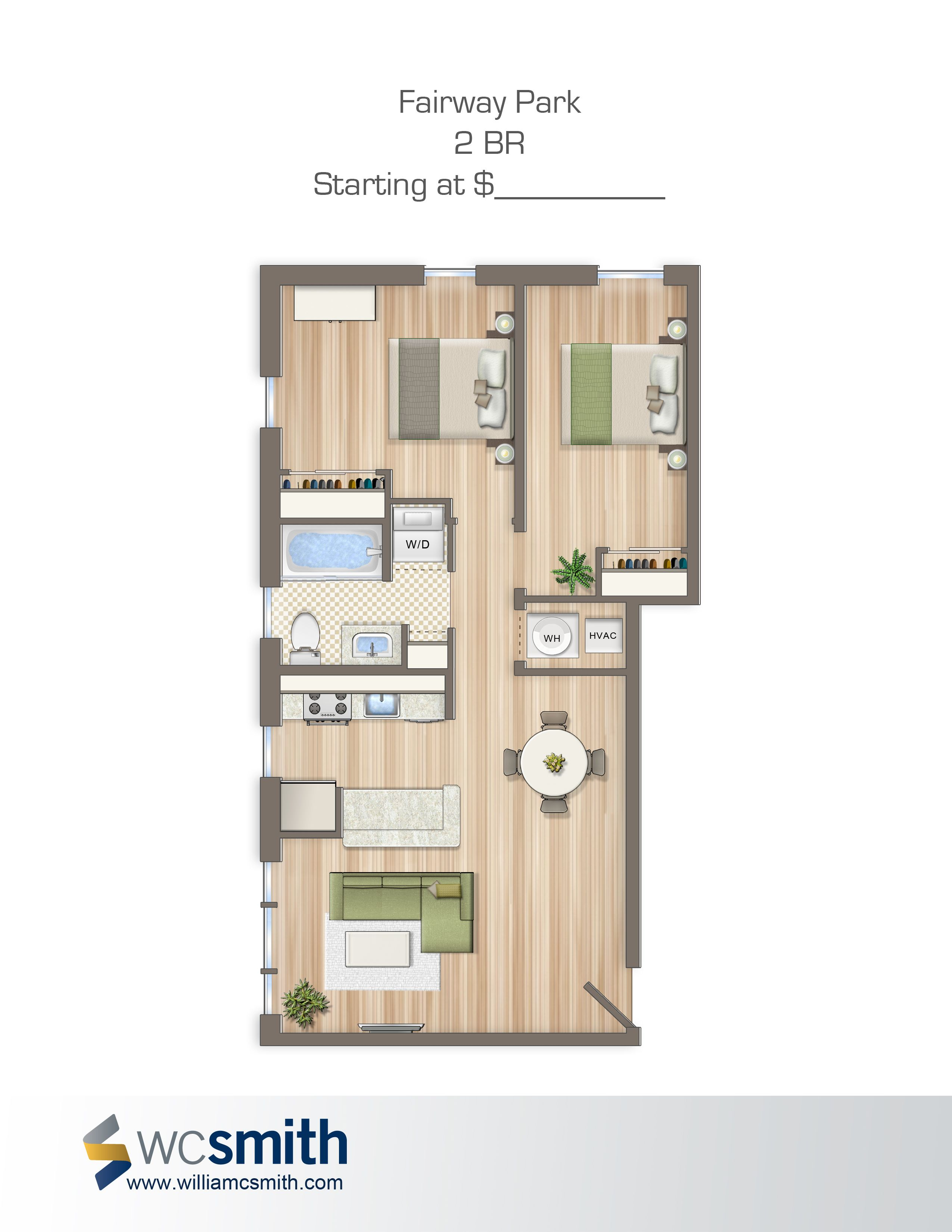 Two Bedroom Floor Plan | Fairway Park in Northeast ...