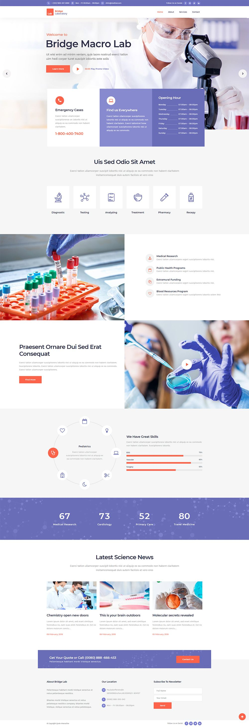Bridge Wordpress Theme Laboratory Demo Medical Website Design Creative Web Design Latest Website Designs