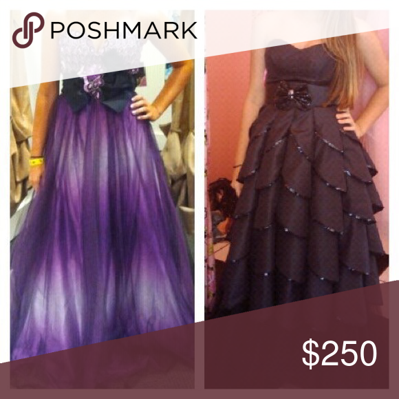 Prom dresses Purple is AWS originally $630 worn once -Black is Betsey Johnson originally $550 worn once. Both in perfect condition Betsey Johnson Dresses Prom