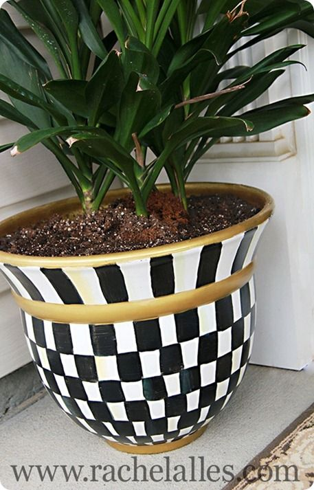 Patio Decor In Black And White Painted Planter