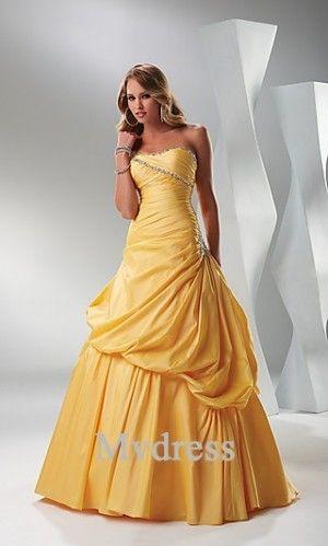Homecoming Dresses#Strapless# Satin Dress Yellow #A-Line Dress