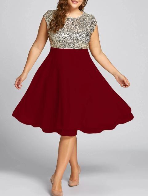 24b009604c Gamiss Women Flounce Plus Size Dress Sequin Sparkly Dresses Cocktail ...