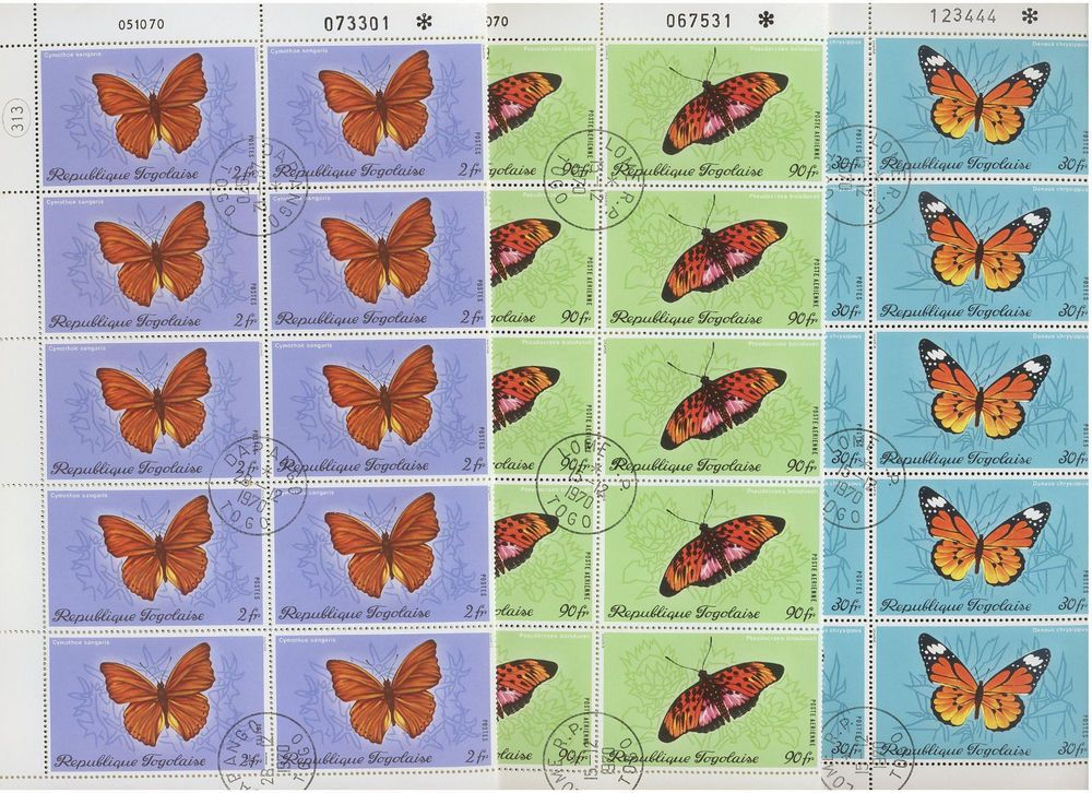 20 x TOGO, Stamps, (Full Sheets) Nature, BUTTERFLIES - CTO