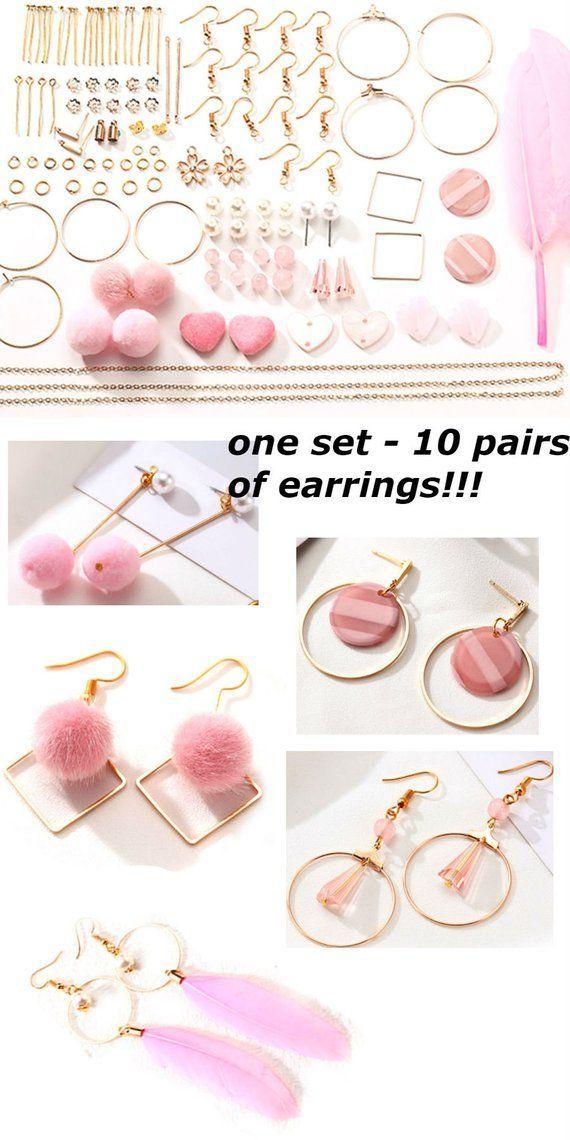 Photo of Earrings Making Kit Pink Jewellery Components Minimalist   Etsy