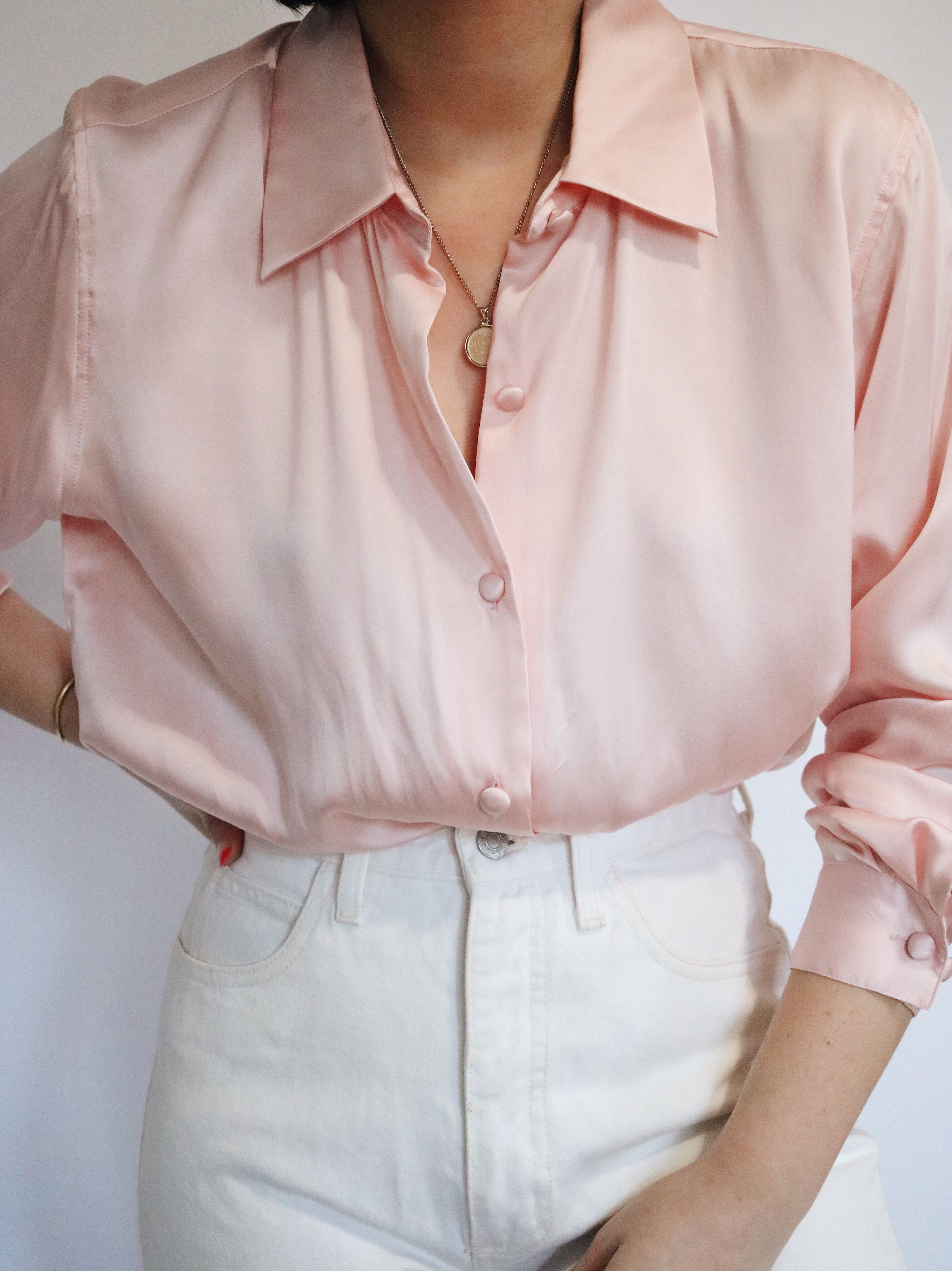 Vintage Pure Silk Pink Blouse Ladylvintageco Pink Blouses Outfit Silk Pink Blouse Classic Style Outfits
