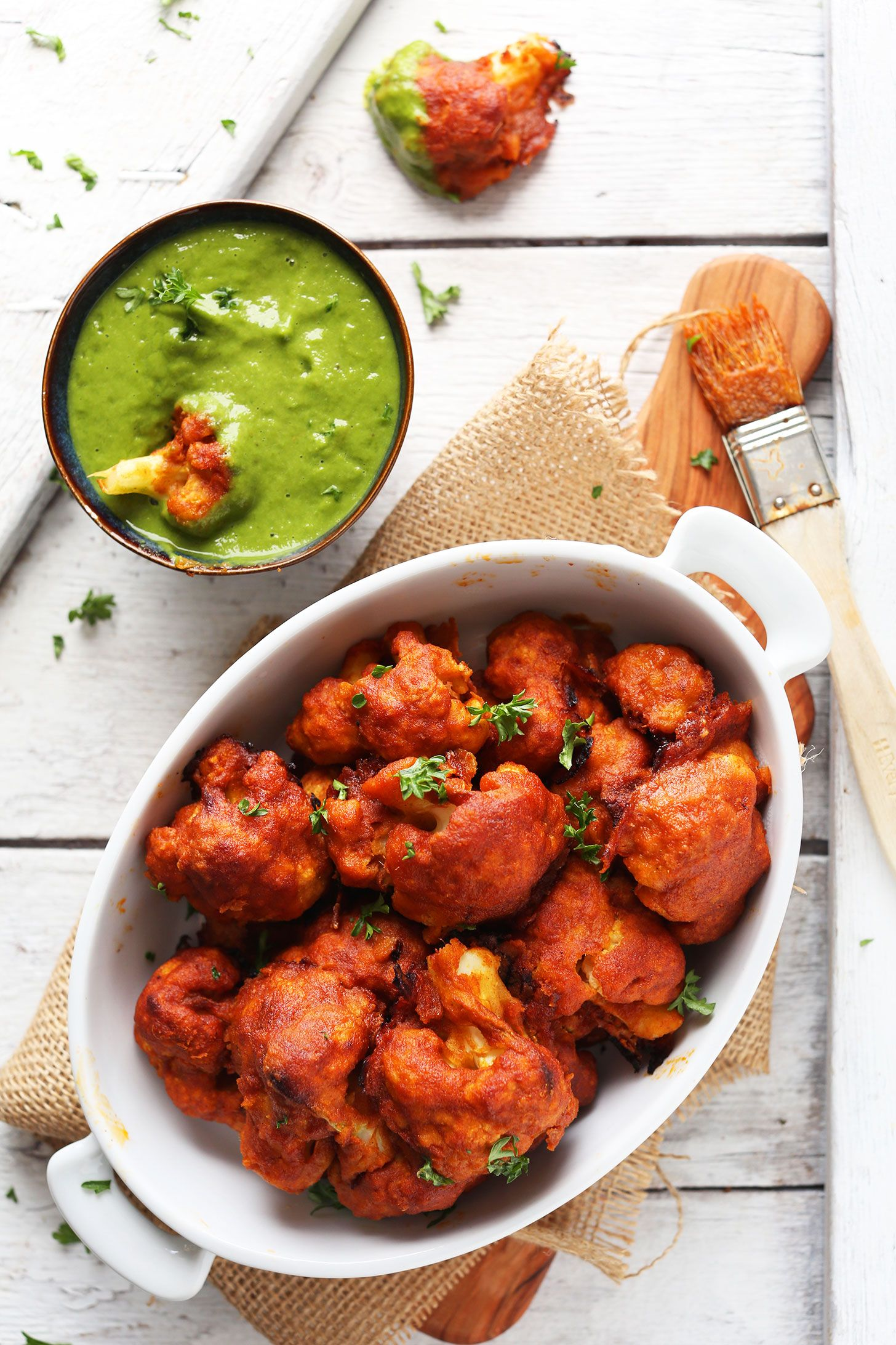 Red Curry Cauliflower Wings Minimalist Baker Recipes Recipe Vegan Cauliflower Wings Food Cauliflower Curry