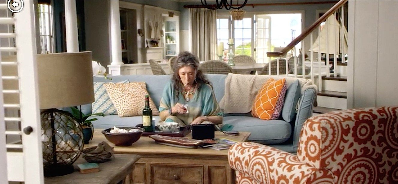 Grace And Frankie Sets And Costumes Tell The Story | Orange Pattern Chair, Decor, Set Decor