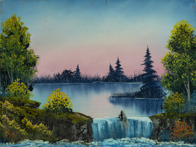 Bob Ross Misty Waterfall Signed Original Painting Contemporary Art Bob Ross Paintings Bob Ross Art Bob Ross