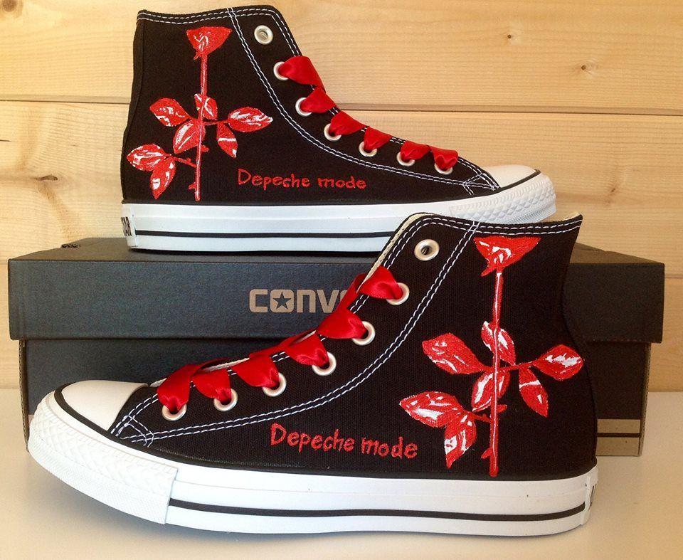 Depeche Mode Rose, Custom Converse Depeche-modus, Converse  Depeche mode, Converse