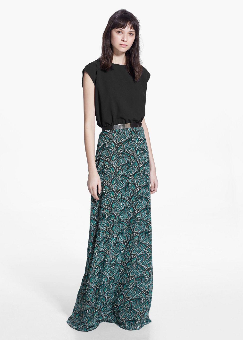 Lange paisley-jurk - Dames   Mango, Für damen und Damen