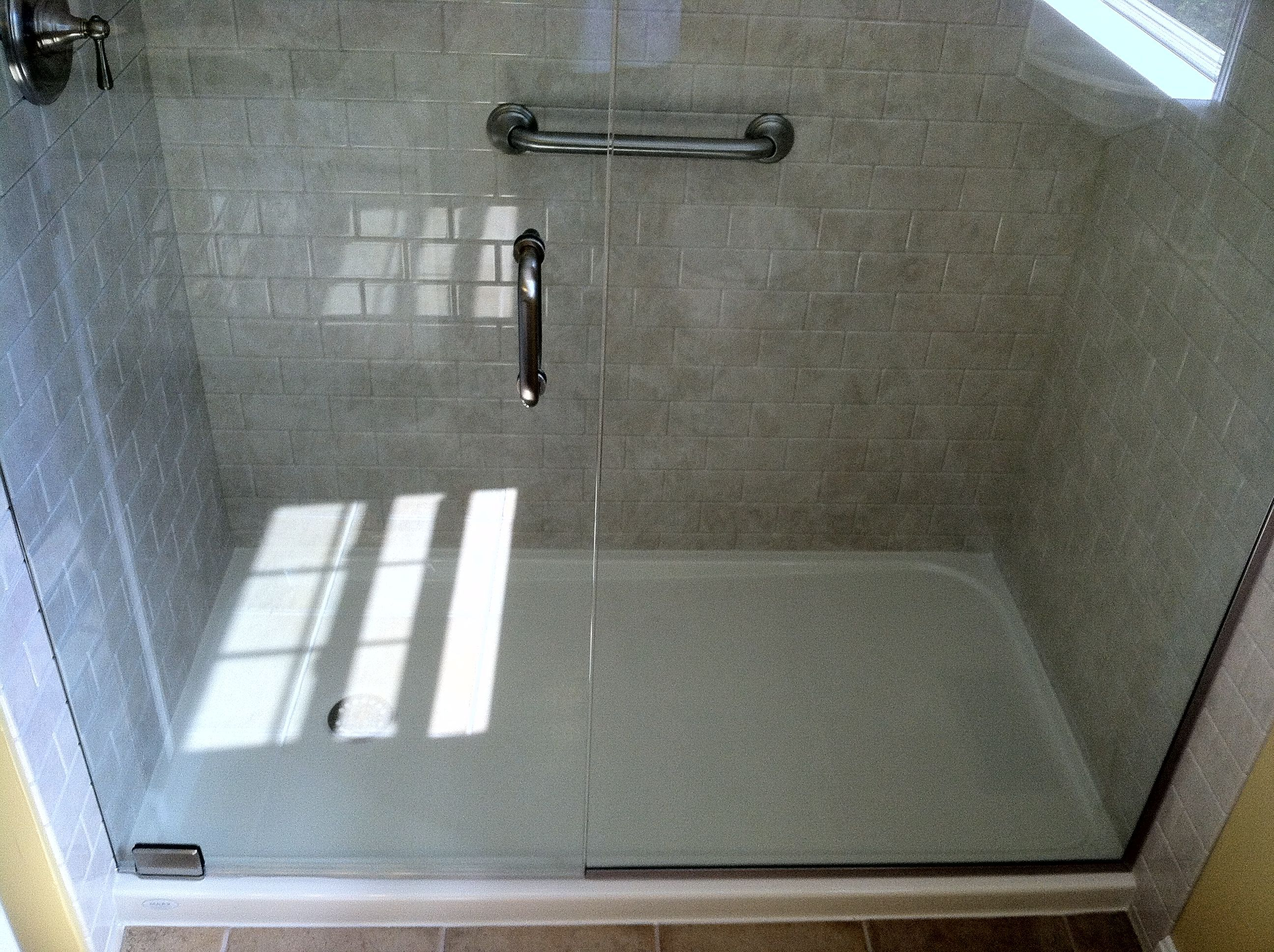 Bathroom Fiberglass Shower Base Pan With Simple Freedom Ada
