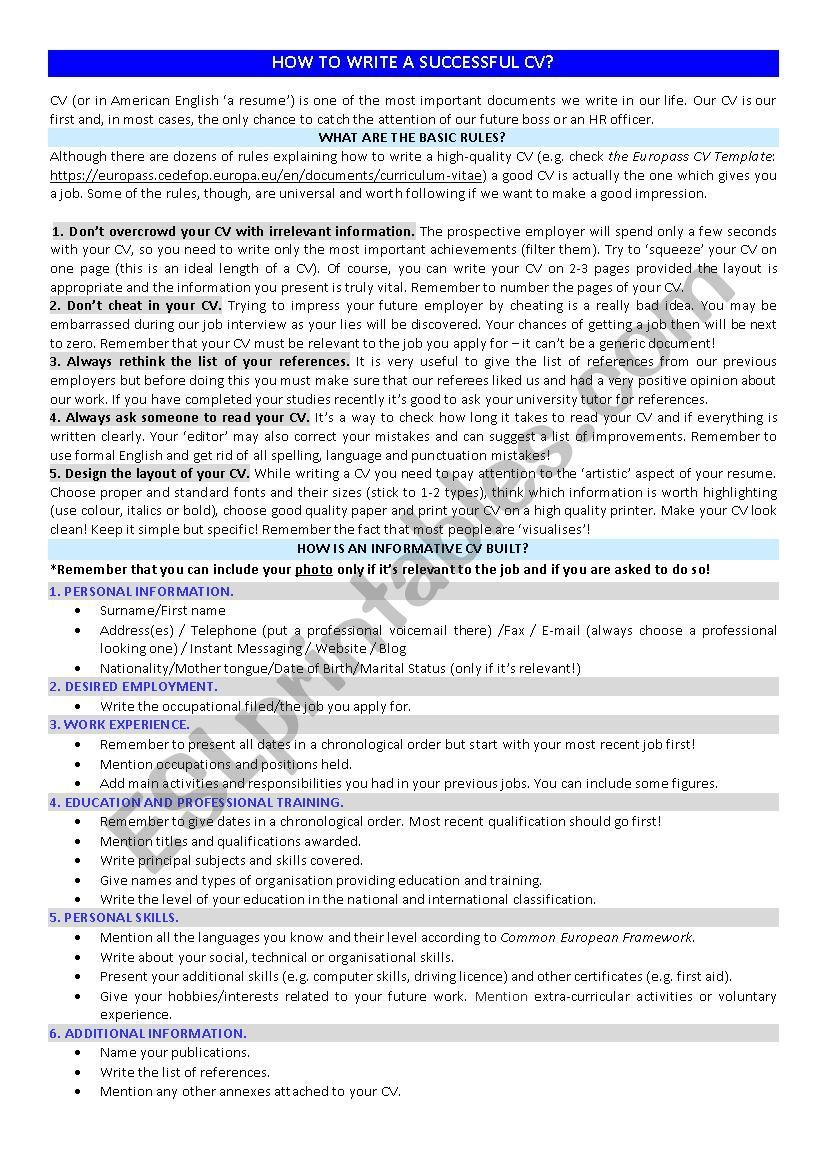 How to write a successful cv worksheet anglais
