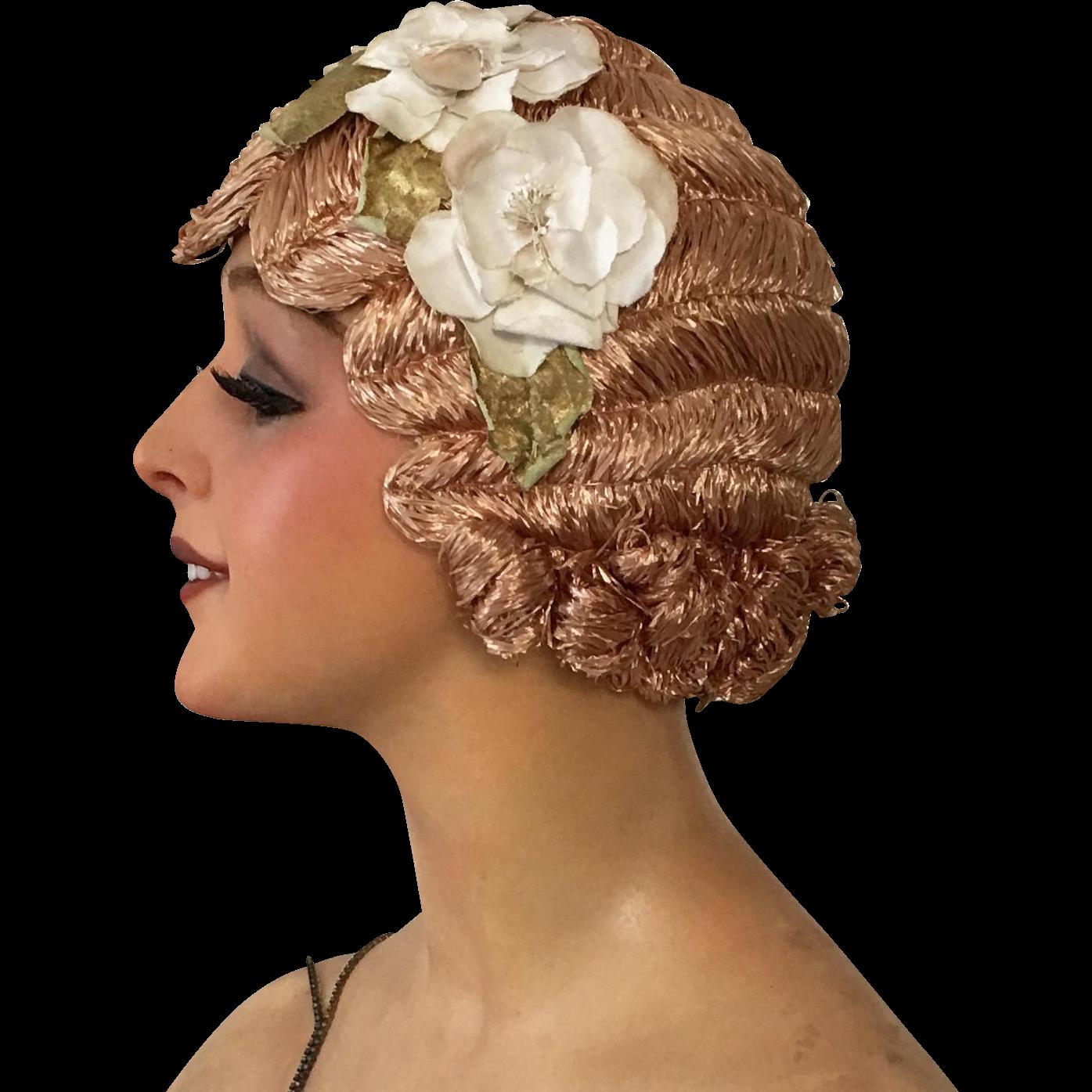 1920 S Art Deco Paris Original Flapper Evening Wig Cloche Hair Mocha