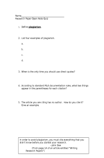 Quiz On Research Methods Mla Format Free Document Download For
