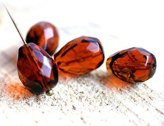 Topaz Brown Tiger striped czech glass beads  fire by MayaHoney