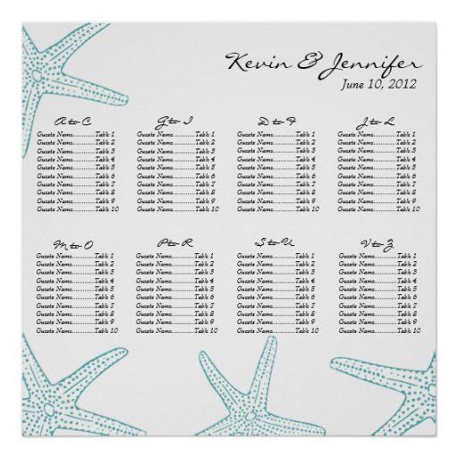 Turquoise Starfish Wedding Seating Chart