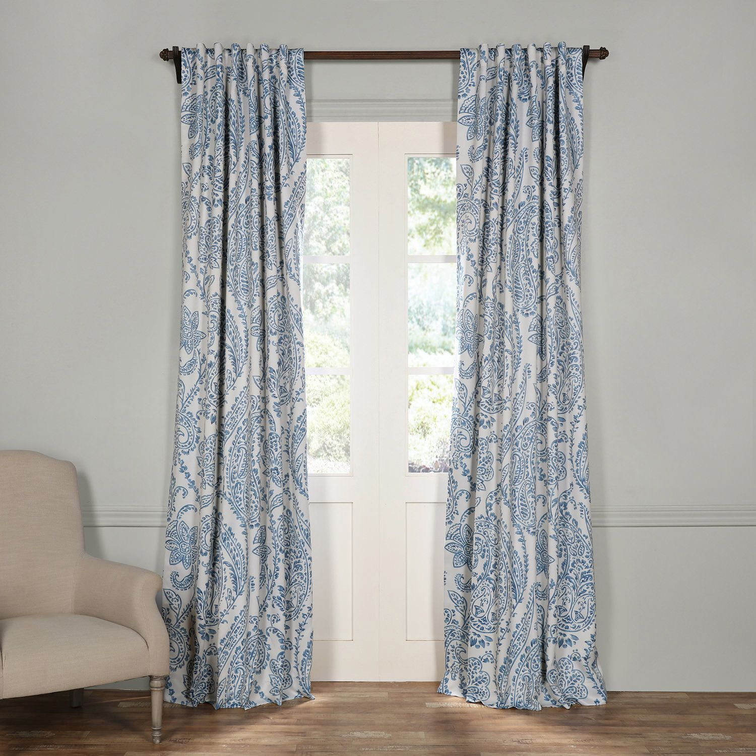 China Blue Curtains Exclusive Fabrics Tea Time China Blue Blackout Curtain Panel Pair