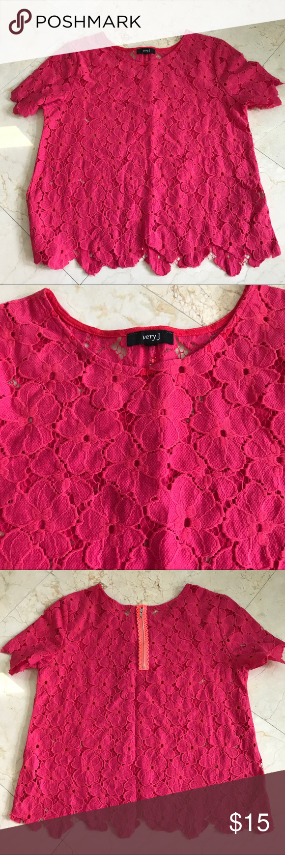 Hot Pink Floral Lace Shirt EUC! Worn only once. The perfect shirt for summer! Hot pink cutout lace with a floral design and bright orange back zipper. Purchased from an online boutique. Very J Tops Blouses
