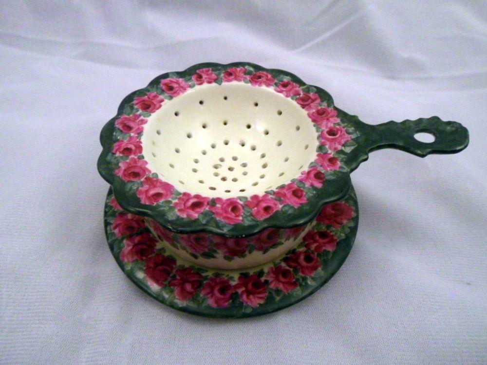 Rare Antique Porcelain 3-Piece Tea Strainer Set, Marked JPL, Limoges, 1899 #Victorian #JPLFrance