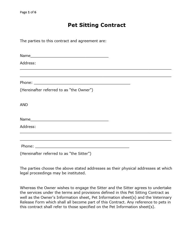 free printable pet sitting contract printer friendly black white