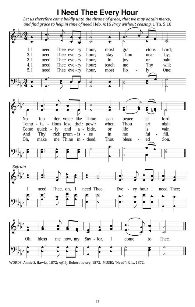 I Need Thee Every Hour - Hymnary org | HYMNS | Bible songs, Church