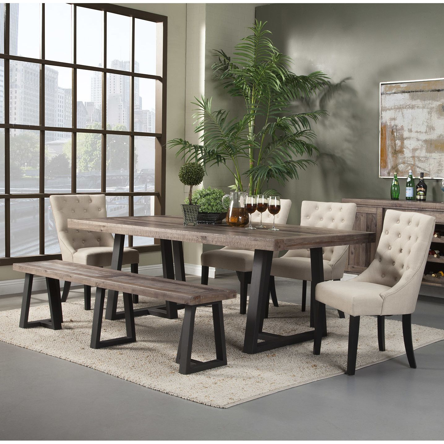 Laurel Foundry Modern Farmhouse Adell 6 Piece Dining Set