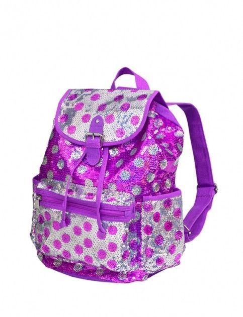 2abe819084 JUSTICE Girls Purple   Silver Sequin Rucksack Backpack
