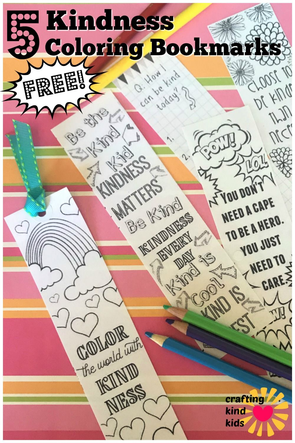 Kids Kindness Coloring Bookmarks In 2020 Printables Free Kids Bookmarks Diy Kids Coloring Bookmarks