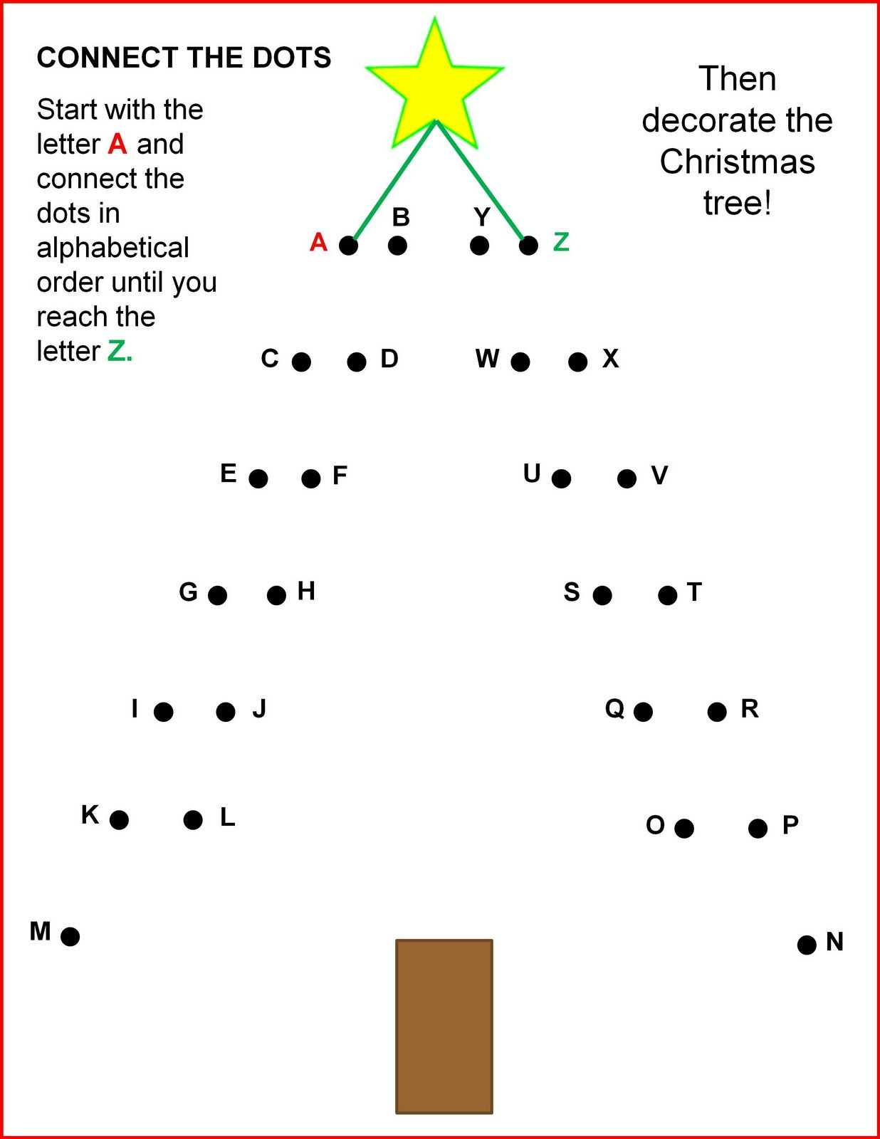 Connect The Dots Christmas Tree With Images