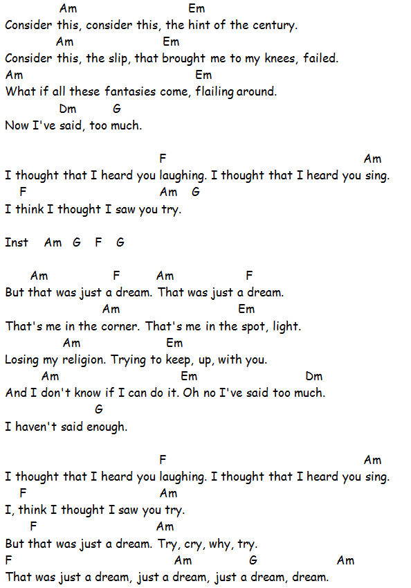 Chords Used Losing My Religion Rem Song Sheet If You Have Found