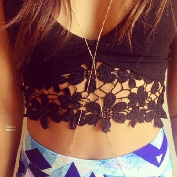 a39ac553a0851 Black Floral Lace Bralette  Crop Top Fits like a small especially if you  wear a bra under it