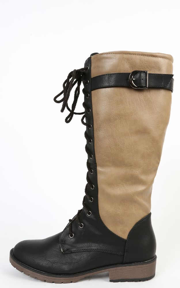 Lace Up Two Tone Knee High Combat Boots BLACK 6