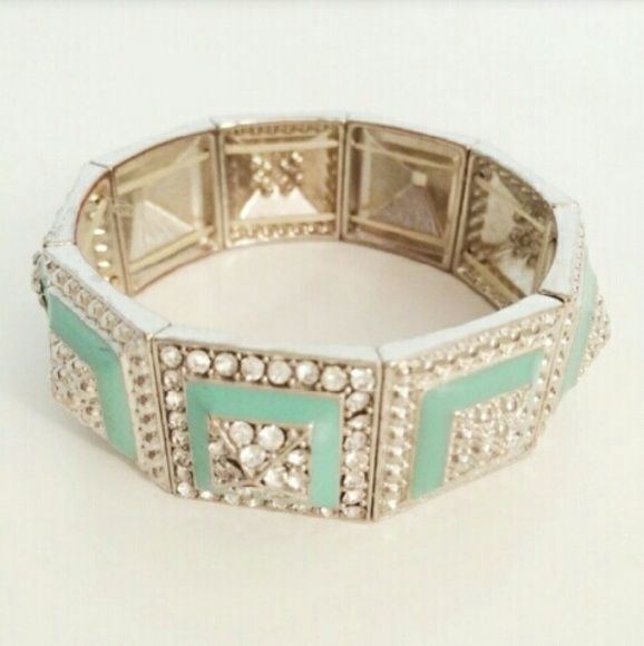 Mint Green Stud bracelet *REPOSH Purchase*  Bought to wear to wedding.  Silver stretchy bracelet with mint green enamel accents & rhinestones. Selling so someone else can enjoy this beauty! Forever 21 Accessories