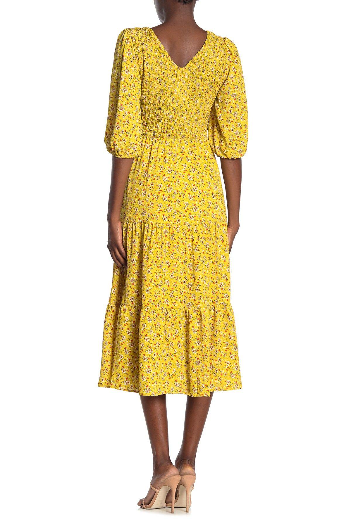 Superfoxx Smocked Bodice 3 4 Sleeve Midi Dress Nordstrom Rack Midi Dress With Sleeves Nordstrom Dresses Midi Dress [ 1800 x 1200 Pixel ]
