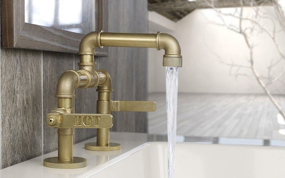 Interior Retro Golden Gilded Metal Faucet With Hot And Cool Taps