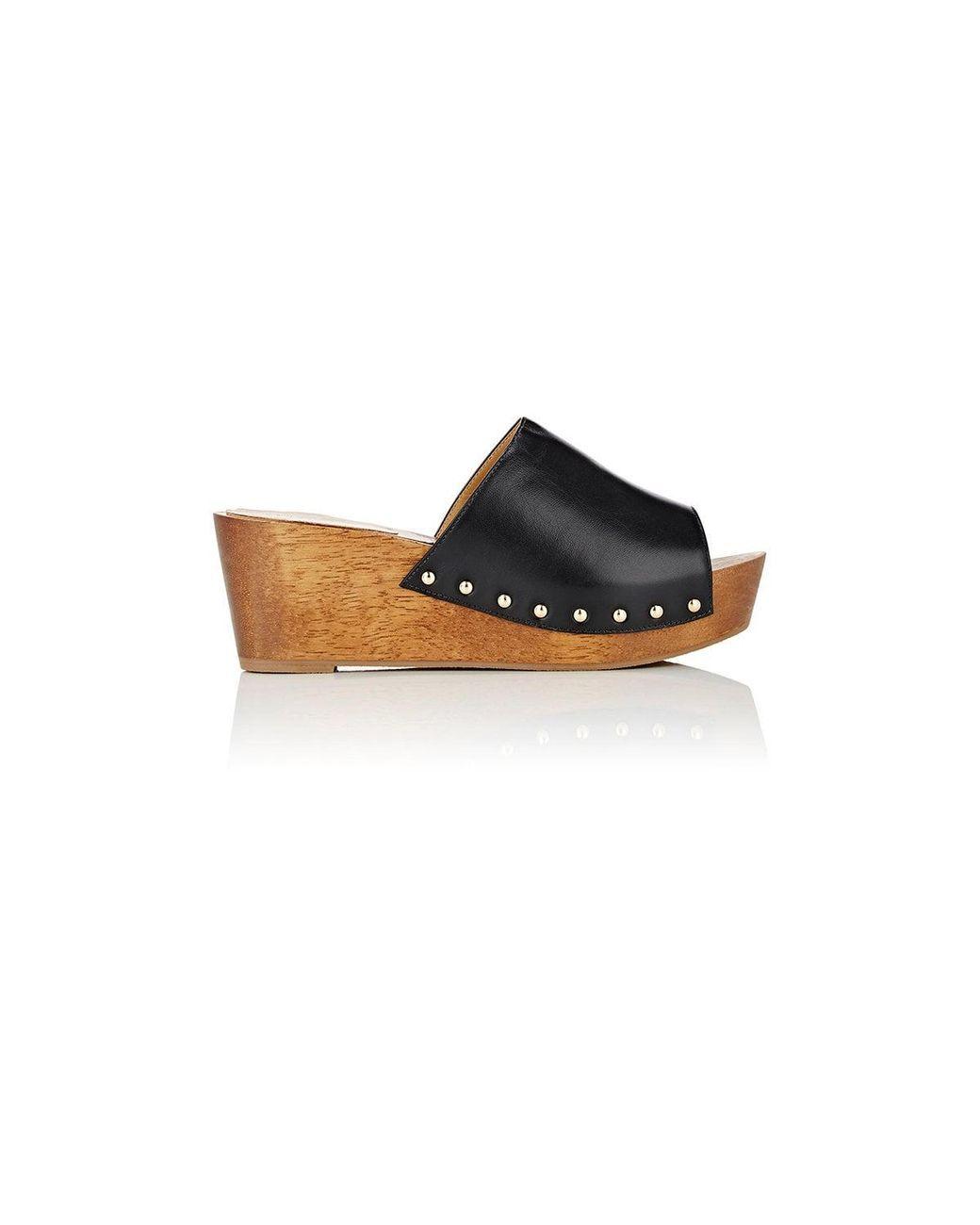 4b8a6b349af Women s Black Leather Platform Slide Sandals